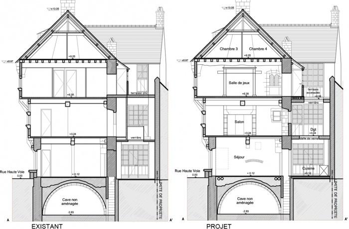 réaménagement intérieur d'une maison en pans de bois