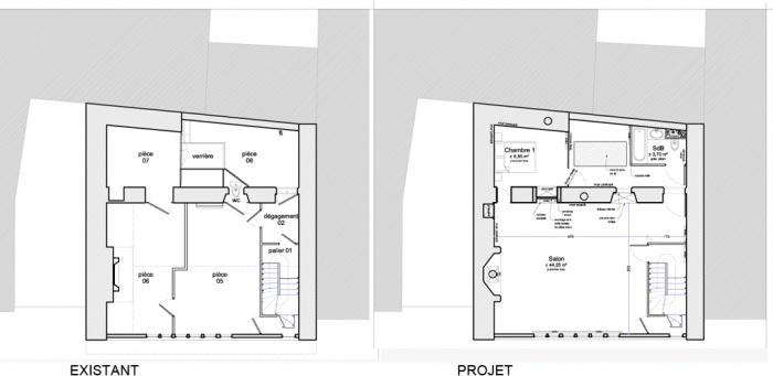 réaménagement intérieur d'une maison en pans de bois : plans niv1