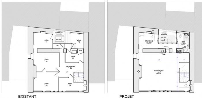 réaménagement intérieur d'une maison en pans de bois : plan niv2