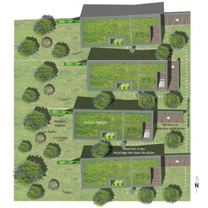 Maison écologique In and Out : PLAN MASSE dim