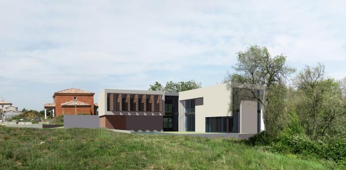 Maison Contemporaine et bioclimatique bbc : Côté jardin