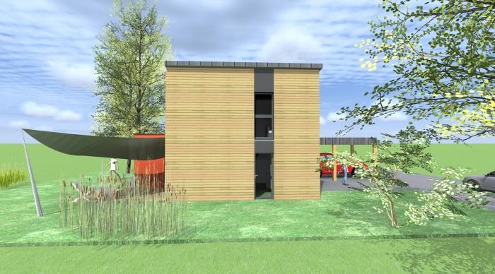 Maison neuve - Projet B : 2- Construction maison bois ossature bois monopente zinc architecte servon sur vilaine