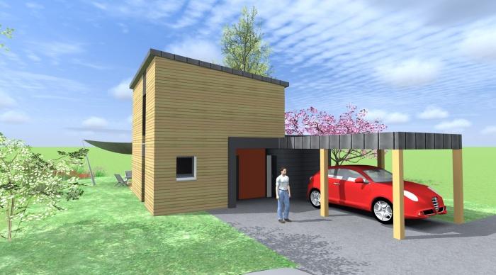 Maison neuve - Projet B : 3- Maison ossature bois bardage bois maitre d'oeuvre 35 architecte 35 2.2vues