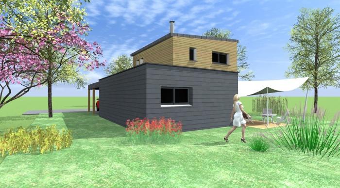 Maison neuve - Projet B : 5- agence architecture 2.2 vues  rennes 35 ille et vilaine maison contemporaine cube