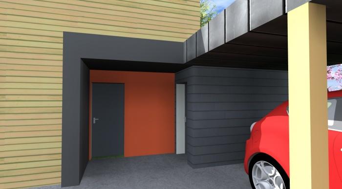 Maison neuve - Projet B : 6- maison bois car park bardage bois trespa orange zinc agence 2.2 vues rennes architecte