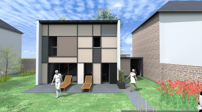 Maison neuve - Projet S+S : 2- Construction neuve maison contemporaine métallique rennes architecte