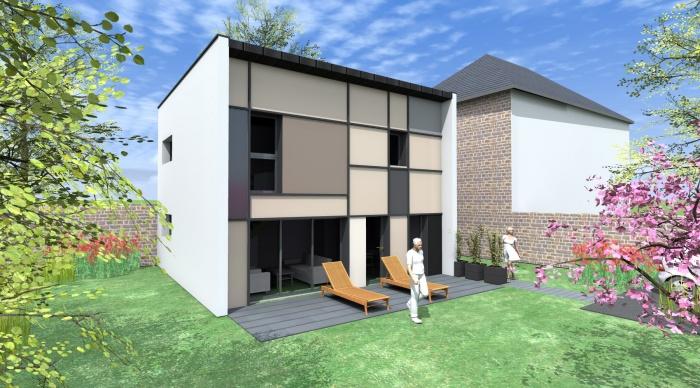Maison neuve - Projet S+S : 3- Maison neuve projet maison cube 2.2 vues servon sur vilaine maitre d'oeuvre