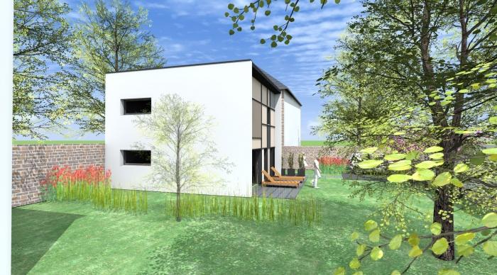 Maison neuve - Projet S+S : 4- maison moderne toit plat agence architecture 2.2 vues maitre d'oeuvre rennes