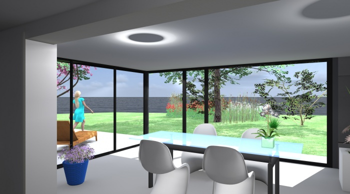 Extension P+P : 12- Extension vue intérieure panoramique agence 2.2vues architecte lise roturier nicolas monceau
