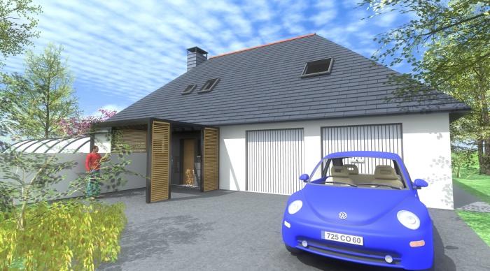 Extension P+P : 7- relooking facade entrée modernisé agence d'architecture 2.2 vues servon sur vilaine rennes
