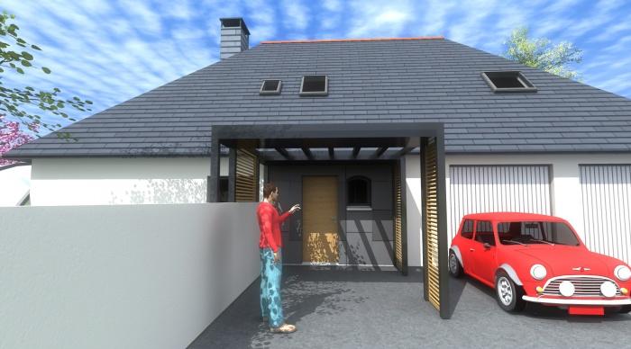 Extension P+P : 8- mise en valeur de l'entrée architecte lise roturier nicolas monceau architecte rennes 35